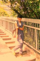 blue heavy duty dress - white nobrandie t-shirt - brown nanonine purse - gold mo