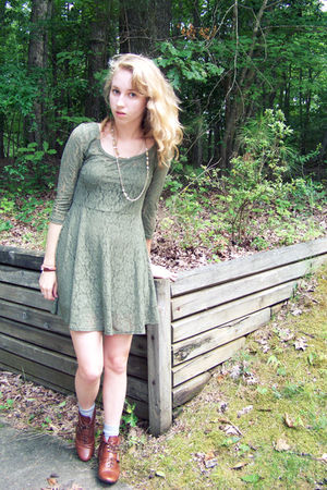 green Target dress - brown Dolce Vita boots - gold vintage necklace