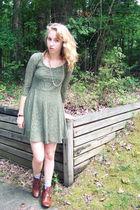 green Target dress - brown Dolce Vita boots - gold vintage necklace