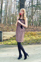 pink Anthropologie dress - black Target tights - black Enzo Angiolini shoes