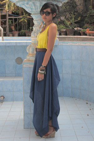 yellow OP top - blue sheer DIY skirt - burnt orange leather giordano belt - oran