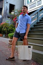 sky blue J Crew shirt - beige Ecoalf bag - gray H&M shorts