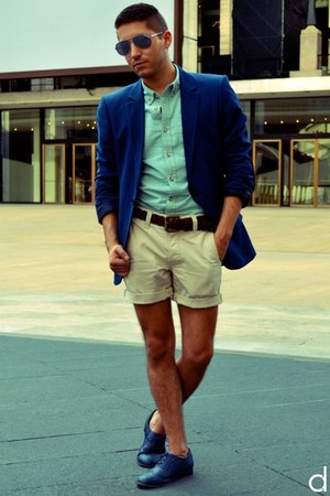 blue H&amp;M blazer - navy Wanted shoes - aquamarine asos shirt