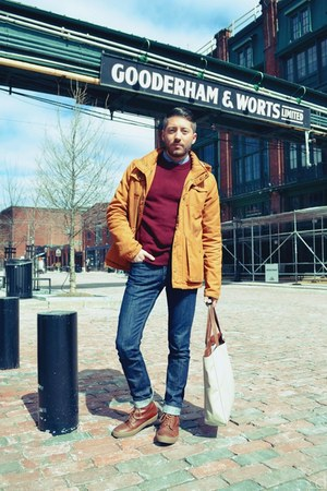 navy Levis jeans - burnt orange Fred Perry boots - light orange H&amp;M jacket