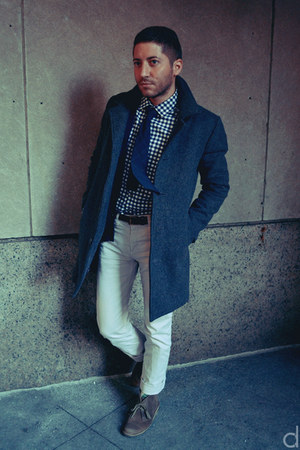 navy Frank &amp; Oak shirt - tan Clarks boots - gray American Apparel coat