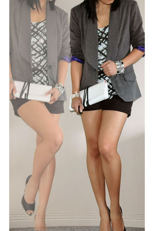 silver blazer - black shorts - white top - white bag - black accessories - black