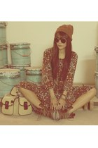 brown H&M boots - crimson vintage dress - brown new look hat