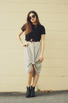 black asos boots - heather gray Boohoo dress - black asos top