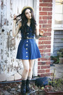 Dark-brown-unknown-boots-navy-vintage-dress-tan-woven-sportsgirl-hat-dark-