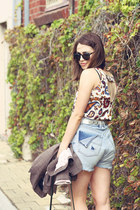 brown plaid Wayne Cooper jacket - sky blue denim vintage shorts