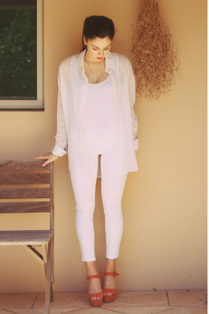 white Big W jeans - white Factory top - white Scanlan and Theodore blouse