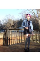 blue Tommy jacket - black shorts - gray socks - navy The Pinkest Owl Vintage top