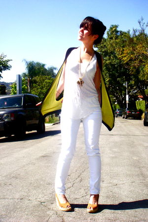 white Urban Outfitters shirt - white Paige Denim jeans - beige Michael Kors shoe