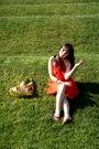 Orange-yaya-aflalo-dress-gold-rebecca-minkoff-accessories-brown-shoes