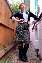 navy Aeropostale blazer - black Target boots - heather gray Target tights