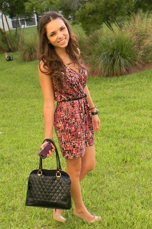 pink Forever 21 dress - beige Steve Madden shoes - black Meet Mark purse - black