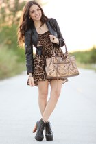 dark brown leopard print romwe dress - black Jeffrey Campbell shoes