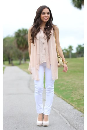light pink ShopGoldie shirt - white Shoedazzle shoes - white JC Penney jeans