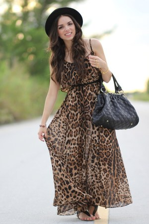 brown leopard romwe dress - black Forever 21 hat - black Mimi Boutique bag