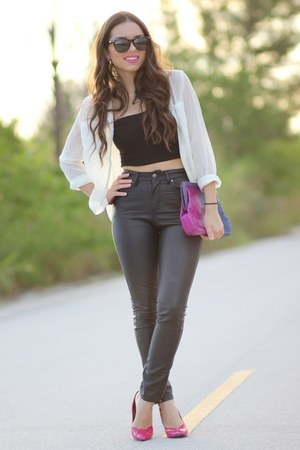magenta Adriana Castro bag - black Furor sunglasses - black Forever 21 pants
