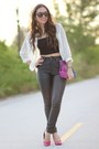 Magenta-adriana-castro-bag-black-furor-sunglasses-black-forever-21-pants