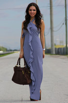 brown Jessica Simpson shoes - navy Furor dress - dark brown Mimi Boutique bag
