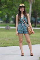 tan Forever 21 hat - bronze Mimi Boutique bag - teal Urban Outfitters romper - b