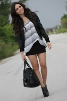 heather gray Furor shirt - black ankle booties BCBG boots