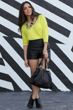 black fabric scrap boots - yellow Nordstrom sweater - black sdgf bag