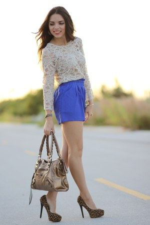 brown Aldo pumps - brown Mimi Boutique bag - blue romwe shorts
