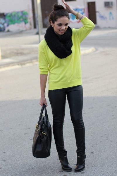 yellow Old Navy sweater - black Dr Martens boots - black Aldo scarf