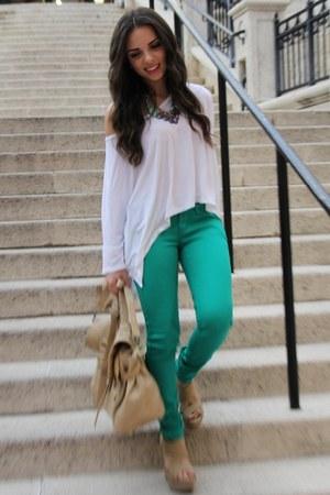 white Express top - green JC Penney jeans - tan Mimi Boutique bag