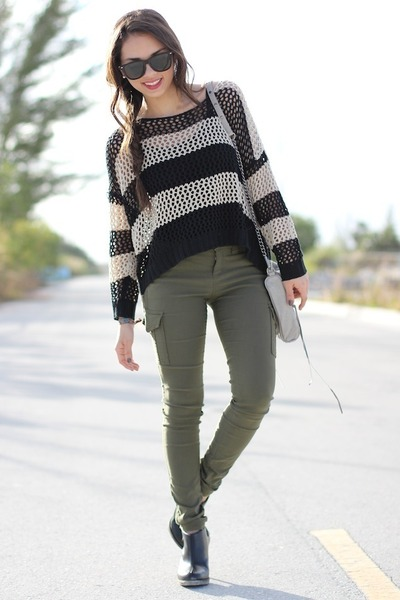 army green Express pants - black Dr Marten boots - beige romwe sweater