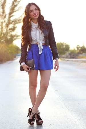 blue romwe shorts - black H&M jacket - black Mimi Boutique bag