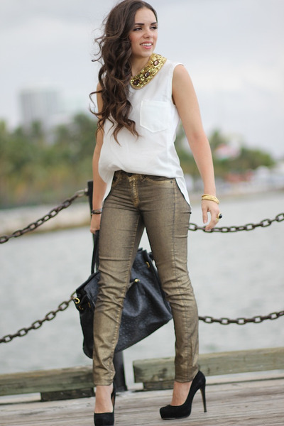 gold romwe necklace - white romwe shirt - black Mimi Boutique bag