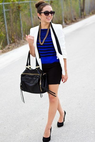 gold Mimi Boutique necklace - blue romwe dress - white Zara blazer