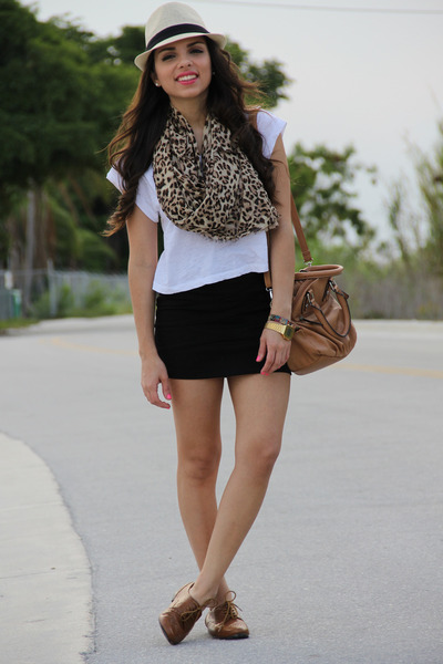 brown Forever 21 scarf - bronze Nine West shoes - camel Agaci hat