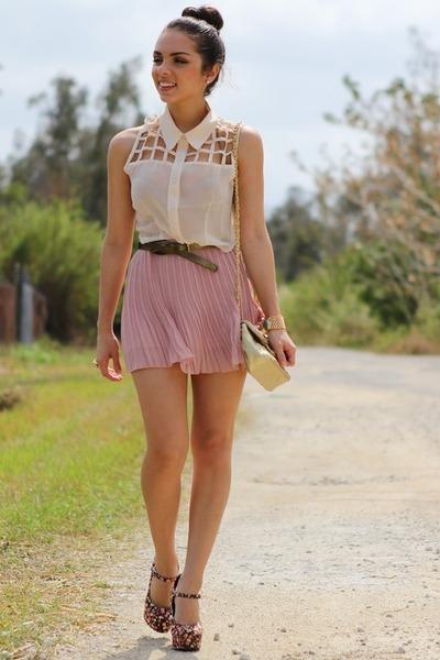light pink romwe skirt - ivory 2020AVE shirt - beige Mimi Boutique bag