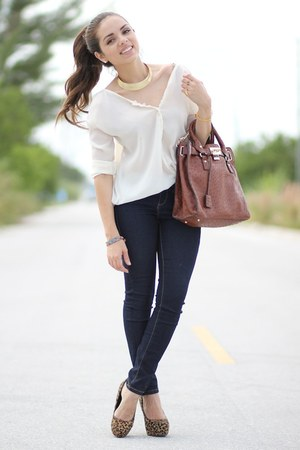 brown Aldo shoes - navy Forever 21 jeans - ivory Furor shirt