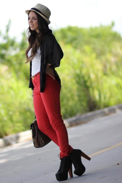 red Zara jeans - black Jeffrey Campbell shoes - beige Agaci hat - brown Aldo bag