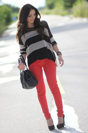 beige stripes romwe sweater - ruby red Zara jeans