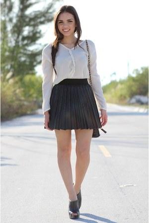 black Forever 21 shoes - white Furor shirt - black vintage bag