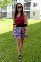pink Forever21 top - brown Forever 21 shoes - purple Forever 21 skirt - beige Me