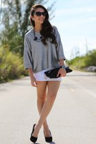 black Mimi Boutique bag - black JC Penney sunglasses - white Zara skirt