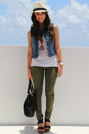 tan Agaci hat - black Mimi Boutique bag - blue Forever 21 vest - black GoJane we