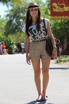 white Forever 21 top - dark brown Mimi Boutique bag - camel Forever 21 shorts