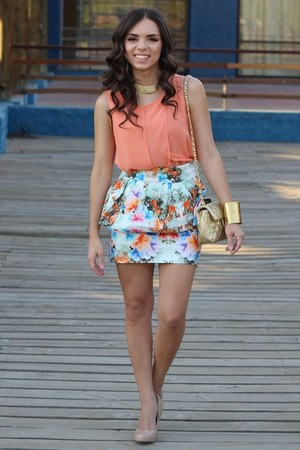 salmon Zara top - tan Mimi Boutique bag - gold furor moda bracelet