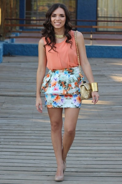 salmon Zara top - tan Mimi Boutique bag - gold furor moda bracelet