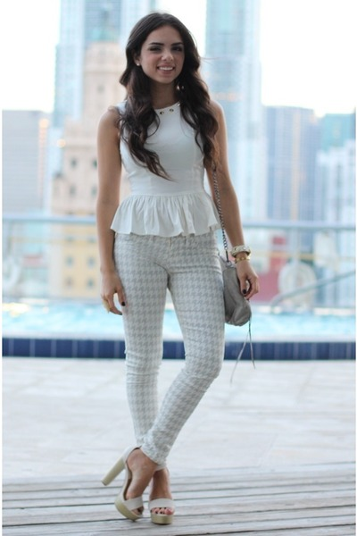 white peplum beginning boutique shirt - ivory Love Shopping Miami shoes