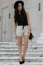 cream crochet OASAP shorts - black gaucho forever hat - black Pac Sun shirt